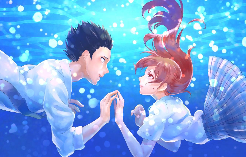 Wallpaper love, romance, pair, Anime, under water, 2016 ...