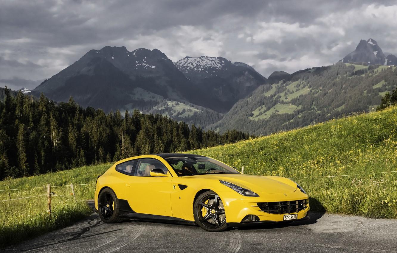 Photo wallpaper Ferrari, forest, yellow, mountain