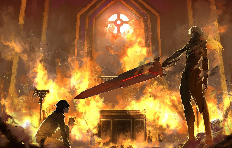 Photo wallpaper fire, fire, sword, guys