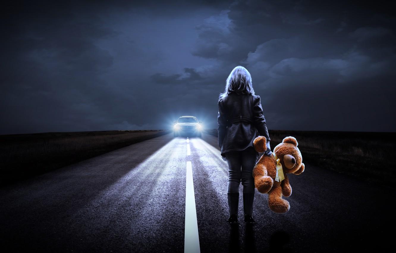 Photo wallpaper road, machine, girl, night, lights, Teddy bear