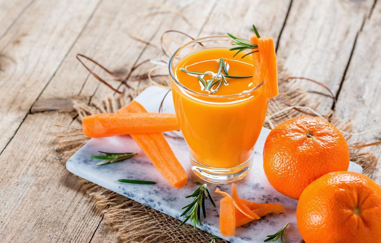 Photo wallpaper juice, carrots, tangerines