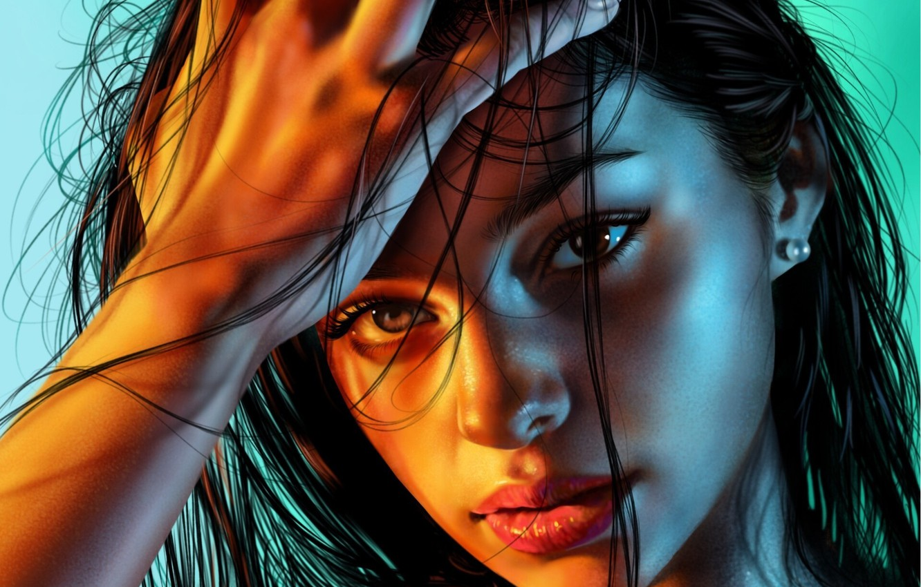 Photo wallpaper eyes, look, girl, face, background, hair, hand, portrait, art