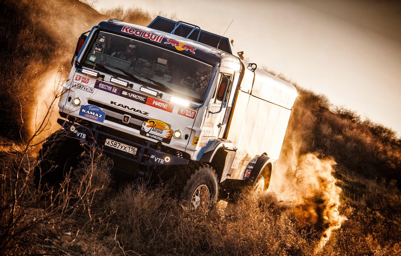 Photo wallpaper Auto, Dust, Sport, Machine, Truck, Race, Master, Russia, Kamaz, Rally, KAMAZ-master, Rally, KAMAZ, The front, …