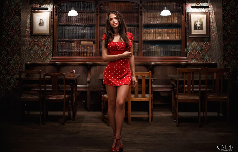 Photo wallpaper look, Girl, interior, dress, legs, Oleg Klimin, Pauline Gofshtein