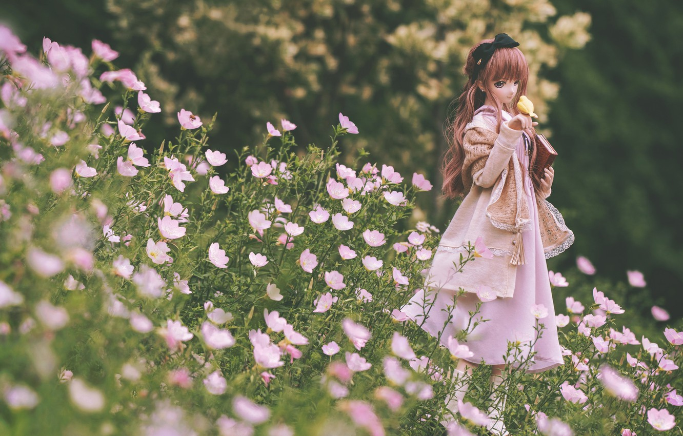 Photo wallpaper flowers, doll, dress, meadow, girl, book, bird