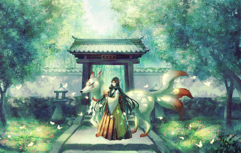 Photo wallpaper butterfly, Park, Japan, track, temple, priestess, kitsune, the demon-Fox, nine-tailed Fox, torii gate