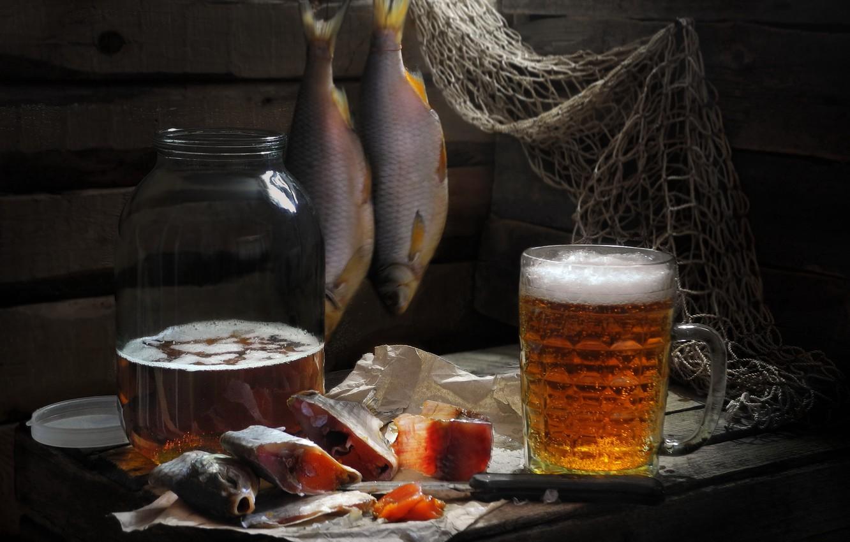 Photo wallpaper network, Board, beer, fish, knife, mug, Bank, Sergey Pounder