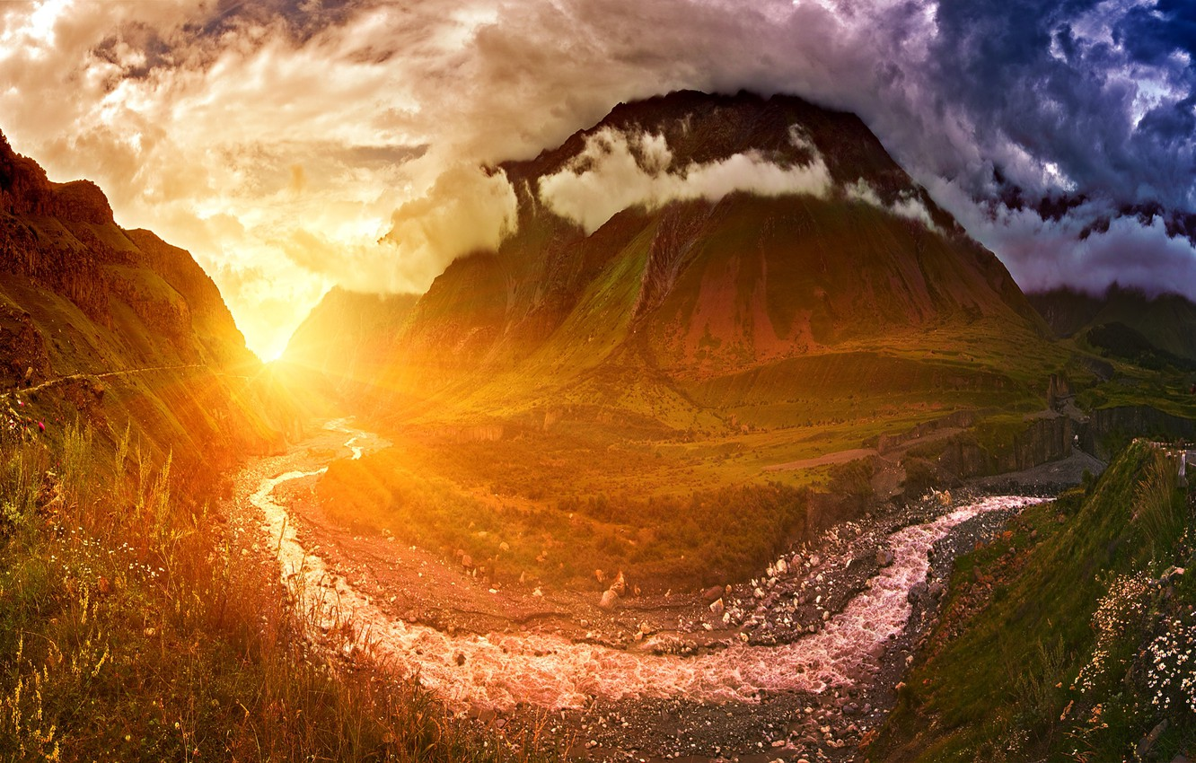 Photo wallpaper Sunset, The sky, Water, Nature, Clouds, The evening, Mountains, Sunrise, Mountain, Morning, Dawn, Stream, Landscape, …