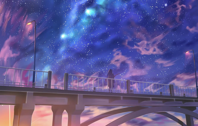 Photo wallpaper sunset, bridge, lantern