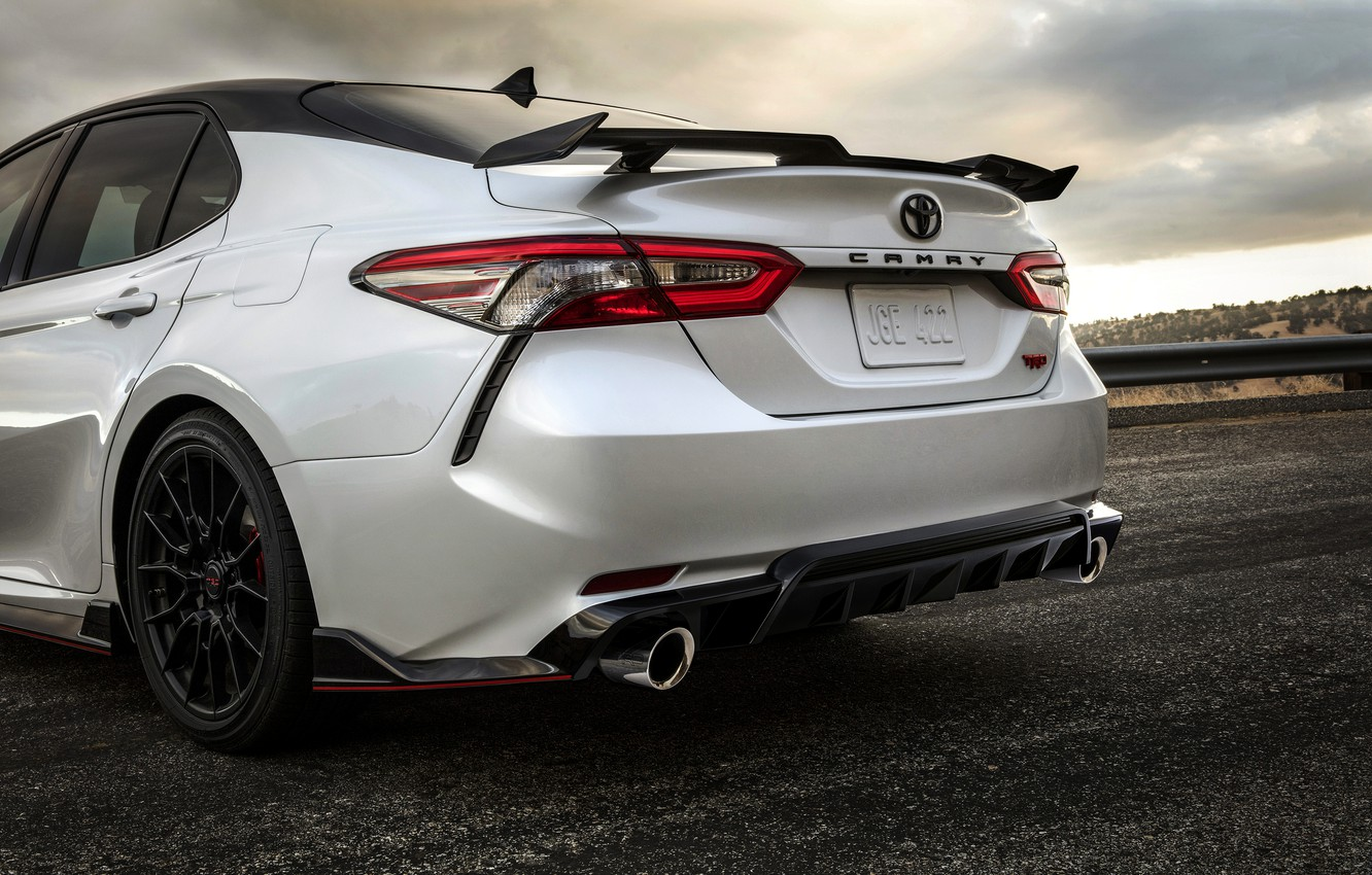 Photo wallpaper white, Toyota, sedan, the rear part, TRD, Camry, 2020
