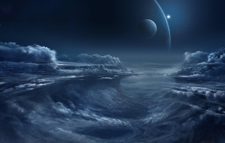 Photo wallpaper fantasy, sky, night, clouds, planets, artist, digital art, artwork, fantasy art, illustration, Chris Goff