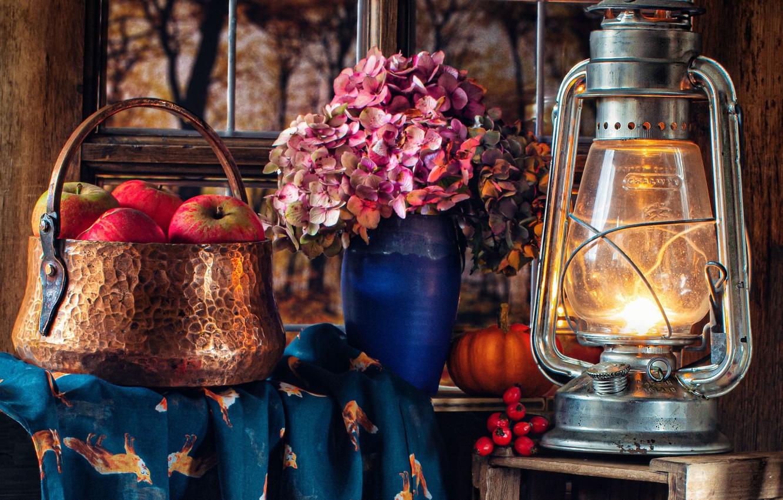 Photo wallpaper flowers, style, apples, lamp, lantern, hydrangea
