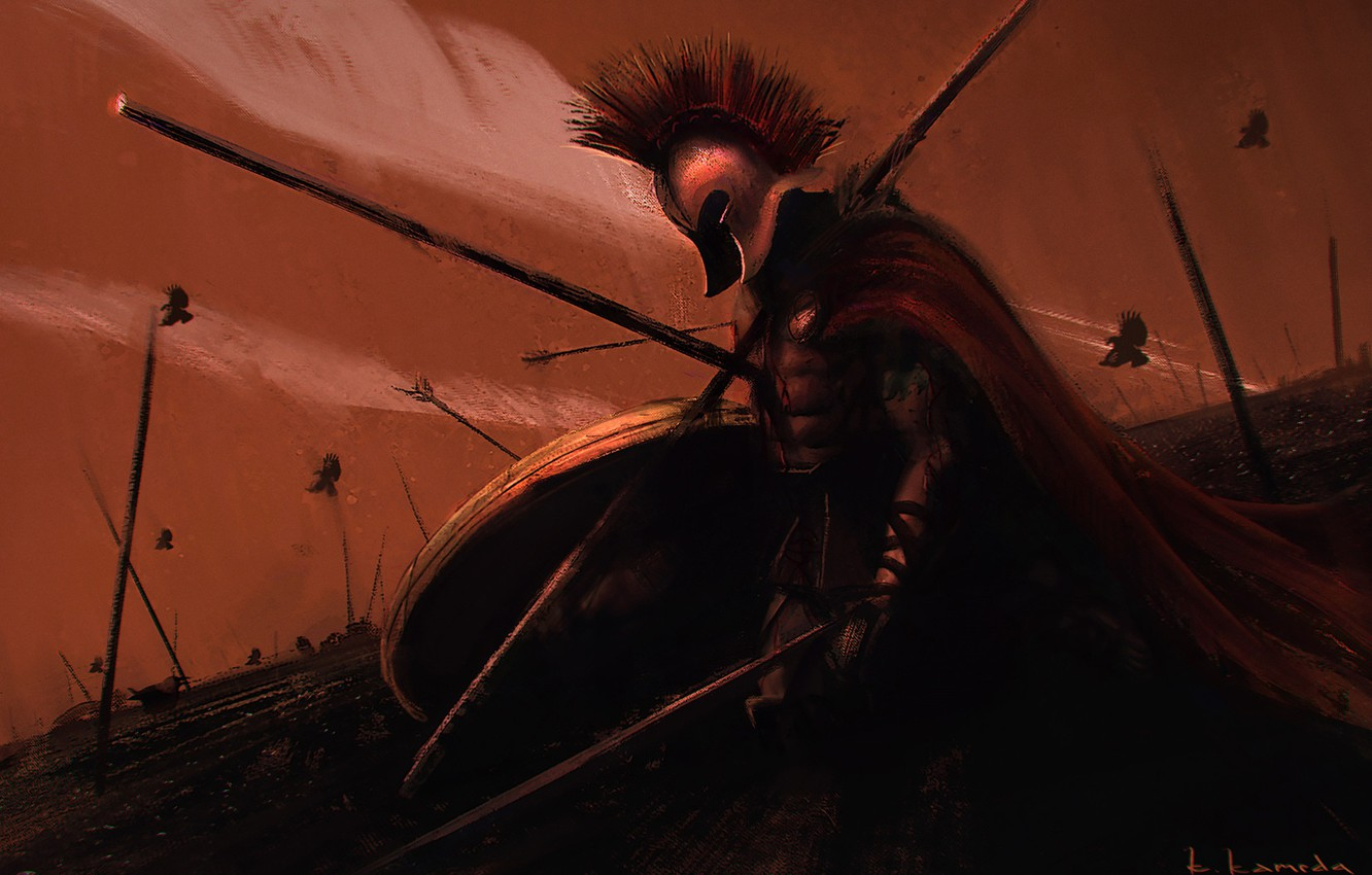 Photo wallpaper Warrior, Sparta, Art, Painting, Art, Warrior, Spartan, by Kentaro Kameda, Kentaro Kameda