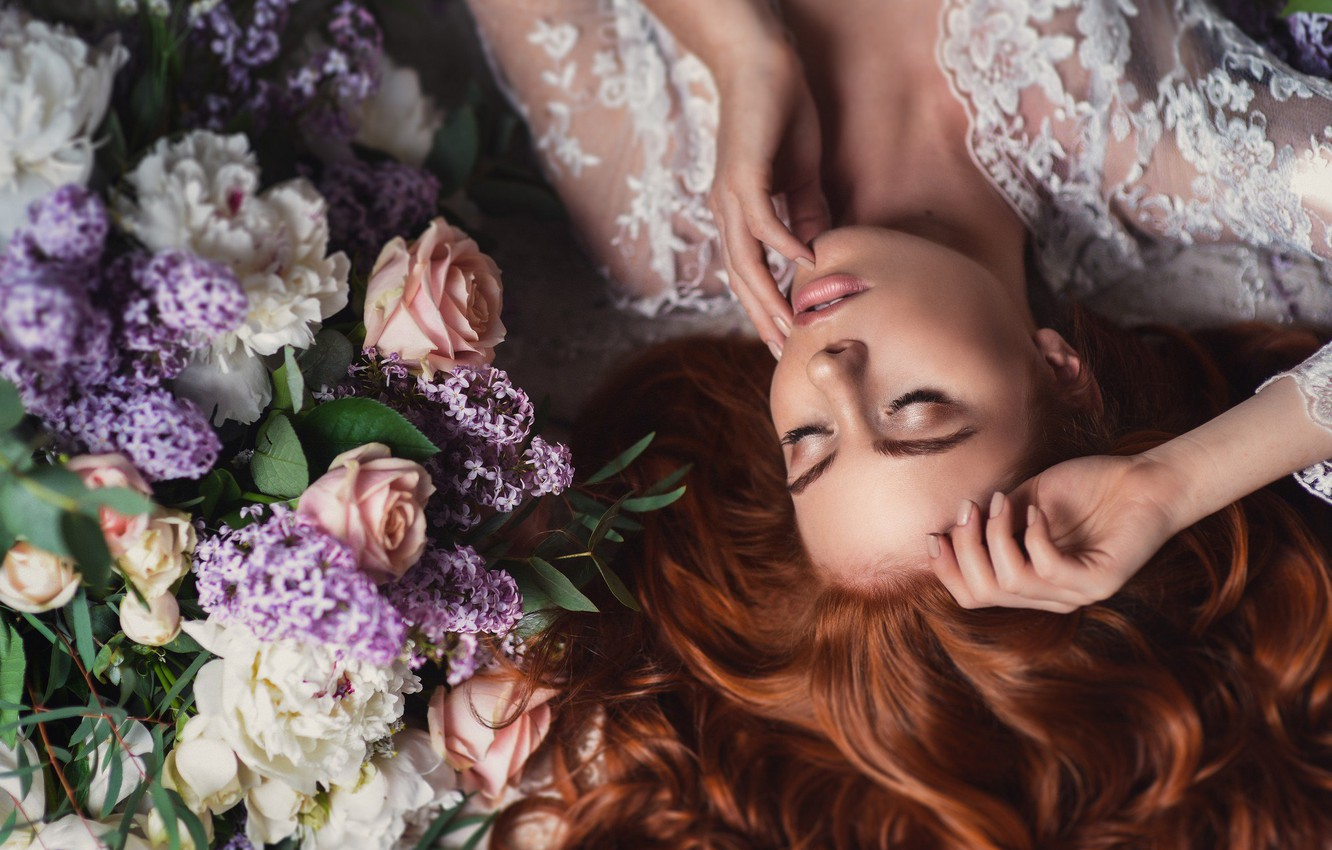 Photo wallpaper girl, flowers, face, pose, hands, makeup, red, redhead, closed eyes, Natalia Magicka, Anna Saeva