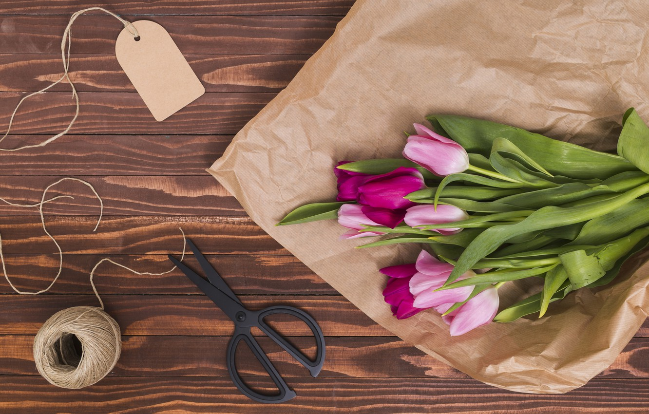 Photo wallpaper flowers, paper, colorful, tulips, pink, wood, pink, flowers, tulips, spring, purple