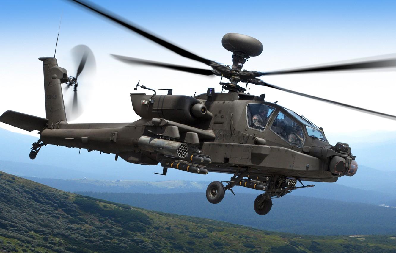 Photo wallpaper the sky, mountains, helicopter, flight, Apache, AH-64D, shock, Longbow, McDonnel Douglas