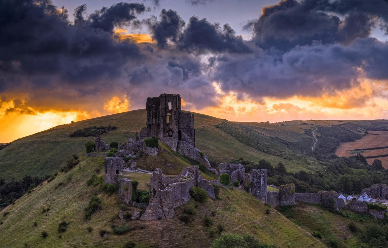 Photo wallpaper Sunrise, Corfe Castle, Dorset