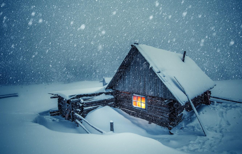 Photo wallpaper winter, snow, cold, cabin