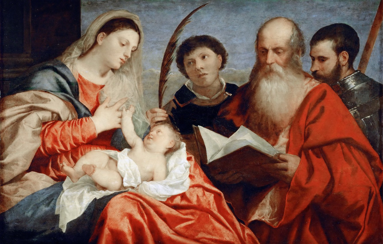 Photo wallpaper Titian Vecellio, 1520 approx., The Madonna and child, St. Stephen, St. Jerome and St. Mauritius