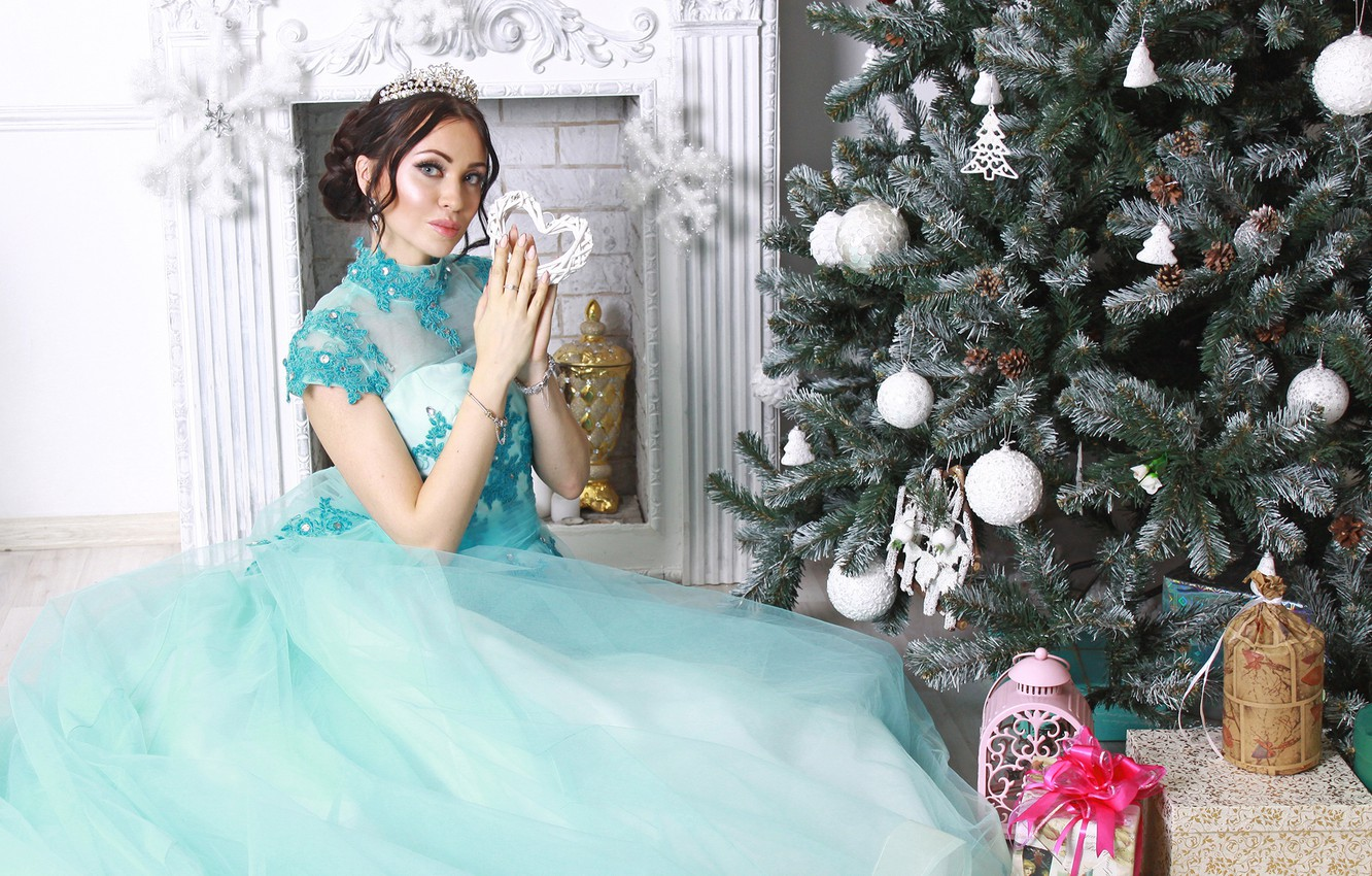 Photo wallpaper look, girl, tree, dress, gifts, New year