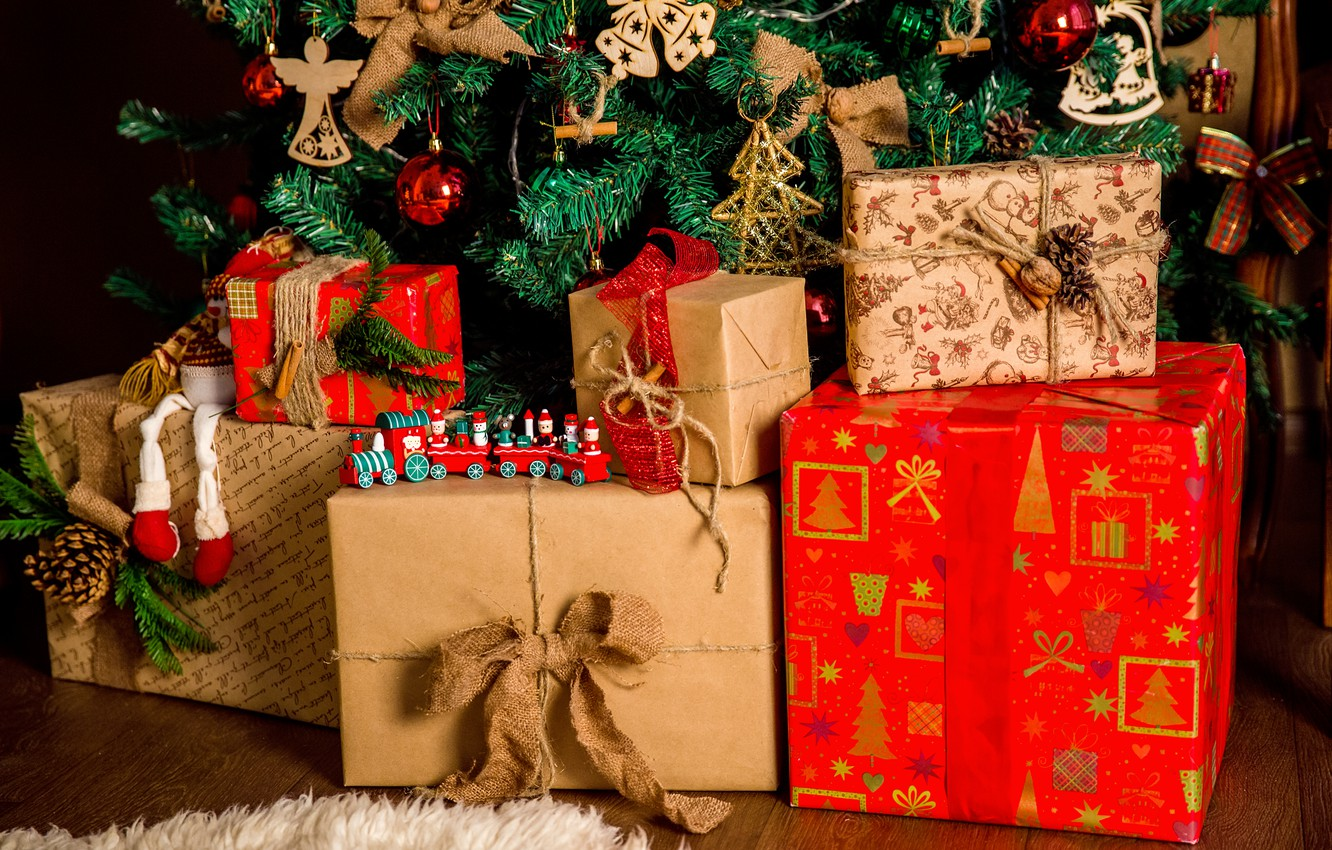 Photo wallpaper holiday, tree, new year, gifts, decoration