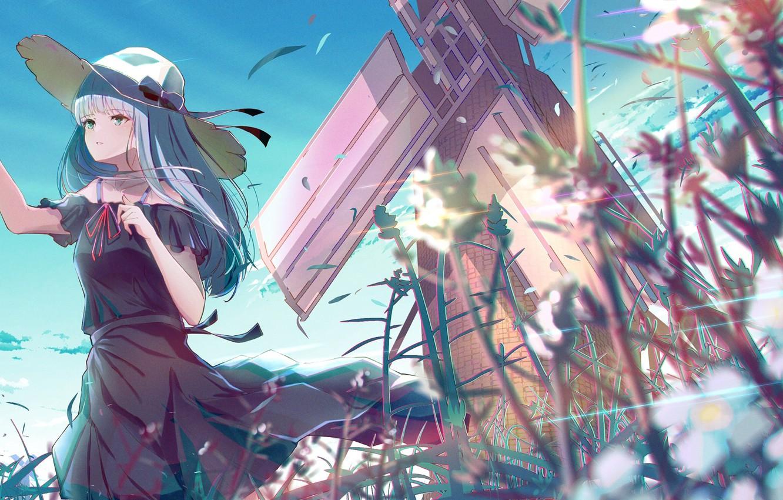 Photo wallpaper field, girl, birds, hat