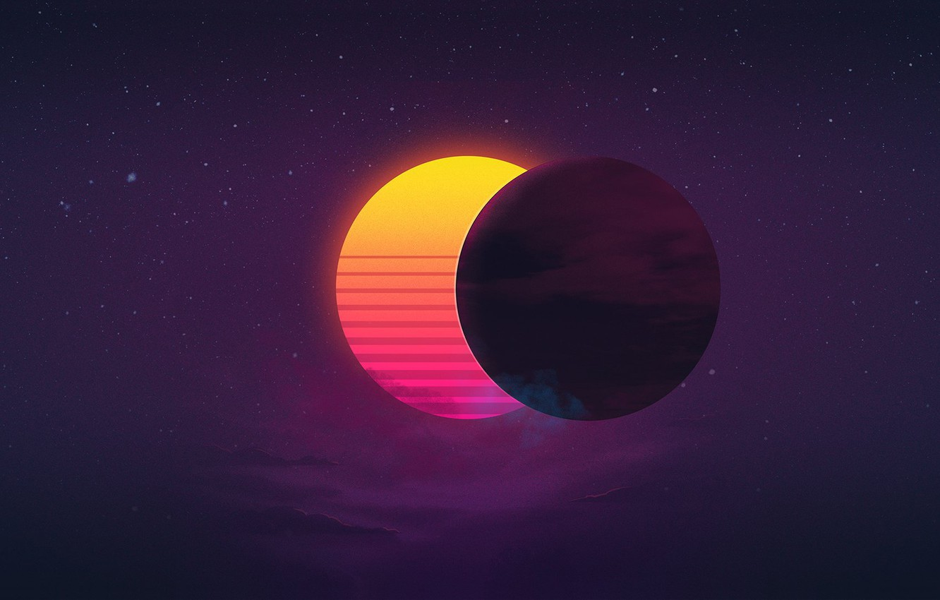 Photo wallpaper The sun, Music, Star, Background, Eclipse, 80's, Synth, Retrowave, Synthwave, New Retro Wave, Futuresynth, Sintav, …