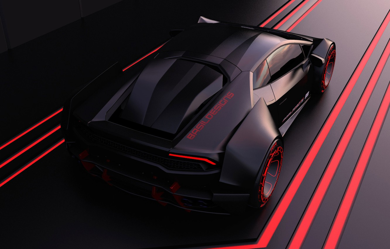 Photo wallpaper Auto, Lamborghini, Machine, Supercar, Rendering, Huracan, Lamborghini Huracan, Cyberpunk, Basil Almasri, by Basil Almasri, Cyberpunk …