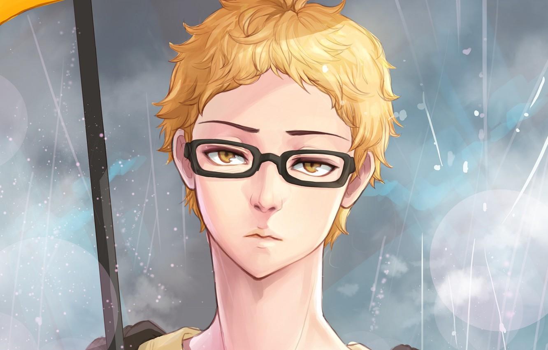 Photo wallpaper umbrella, glasses, guy, Volleyball, Haikyuu, Tsukishima Kei