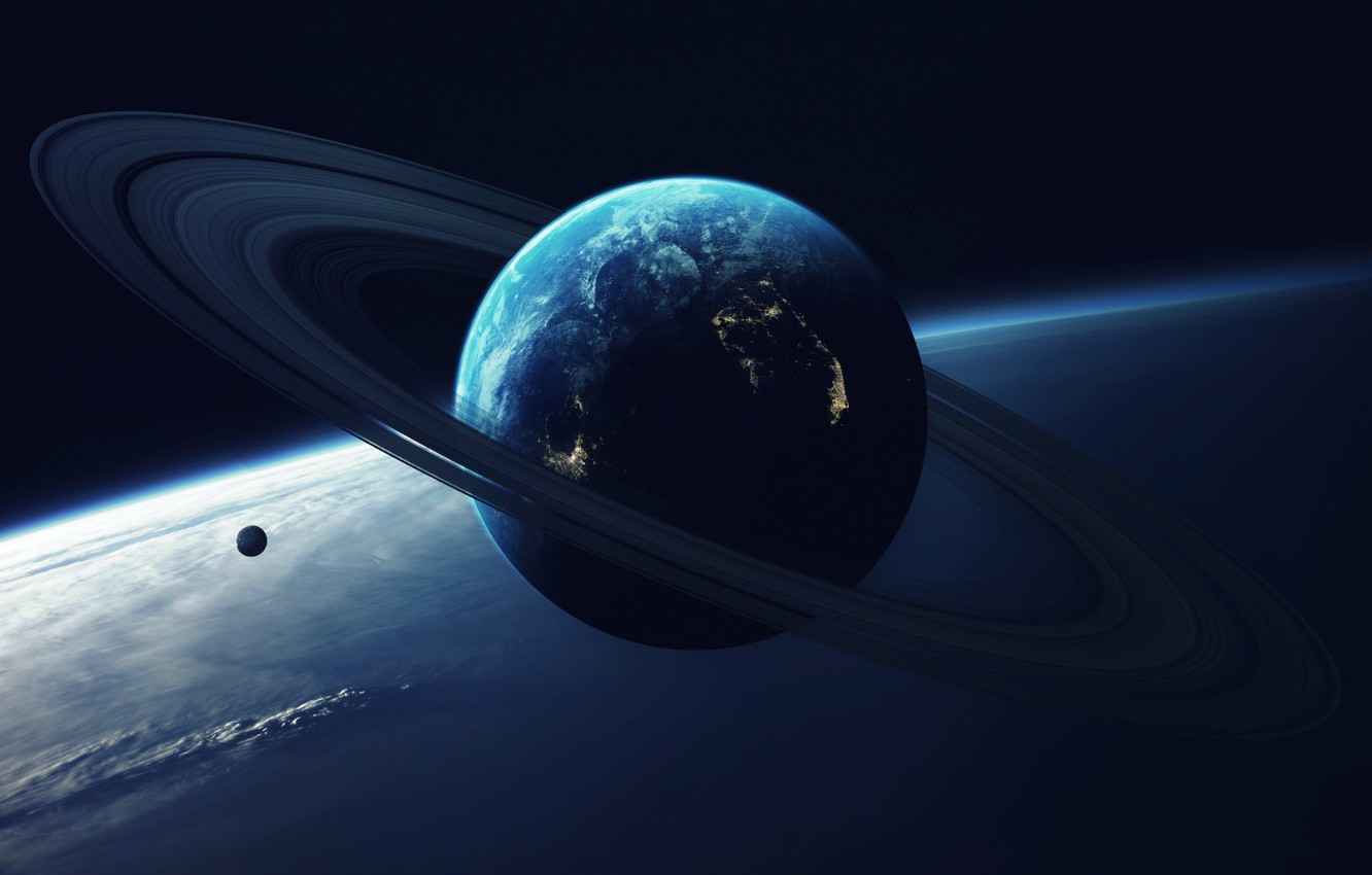Photo wallpaper Planet, Space, Light, Ring, Art, Art, Satellite, Vadim Sadovski, by Vadim Sadovski, Close orbit, Giant ...