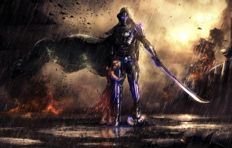 Wallpaper Rain, Sword, Hunter, Child, Little Girl, Destiny ...