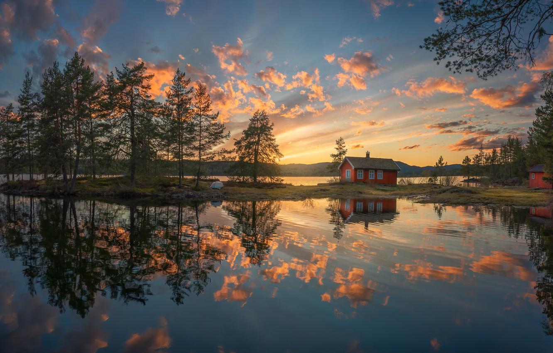 Photo wallpaper lake, reflection, the evening, Norway, house, Ringerike