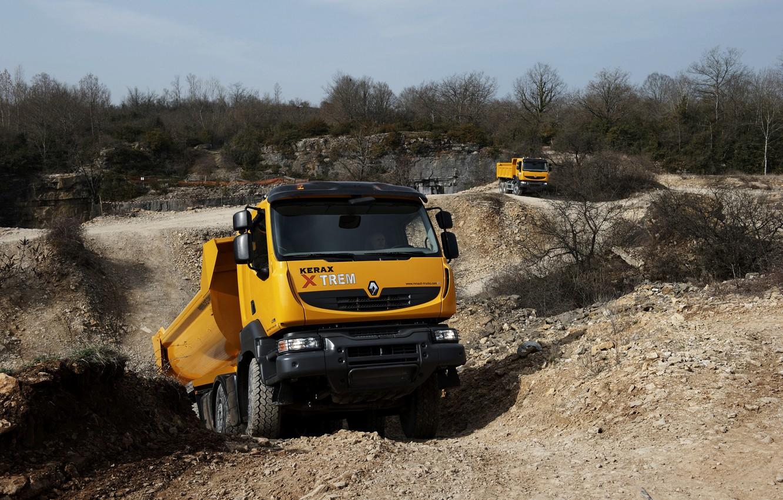 Photo wallpaper orange, truck, Renault, quarry, dump truck, 8x4, four-axle, Renault Trucks, Kerax