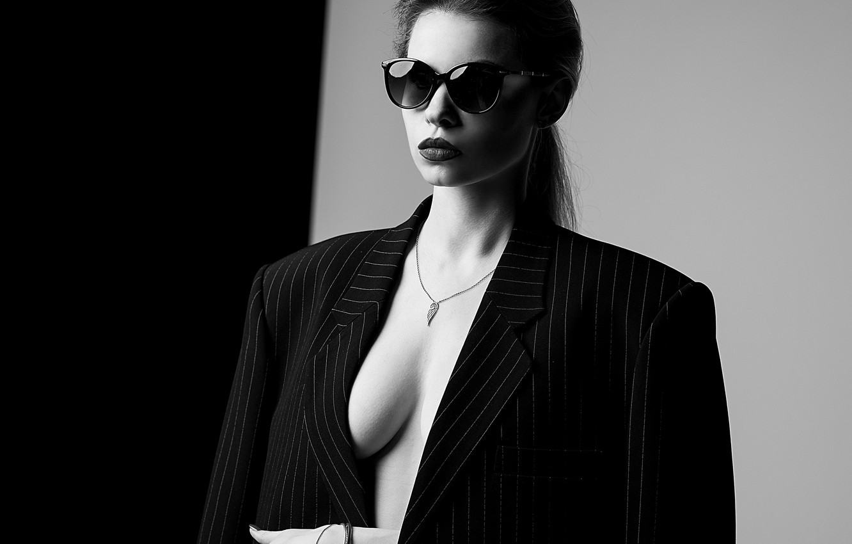 Photo wallpaper white, black, model, glasses, pose, A Diakov George