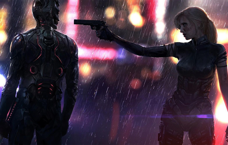 Photo wallpaper Girl, The city, The game, Neon, Rain, Weapons, Art, Cyborg, CD Projekt RED, Cyberpunk 2077, …
