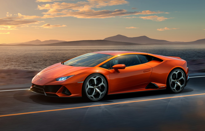 Photo wallpaper road, sunset, orange, lights, graphics, Lamborghini, wheel, Lamborghini, Huracan, Lamborghini Huracan, Hurakan, Huracan Evo, Lamborghini …