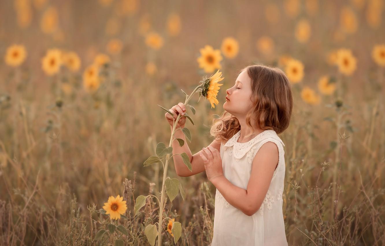 Photo wallpaper summer, sunflower, girl