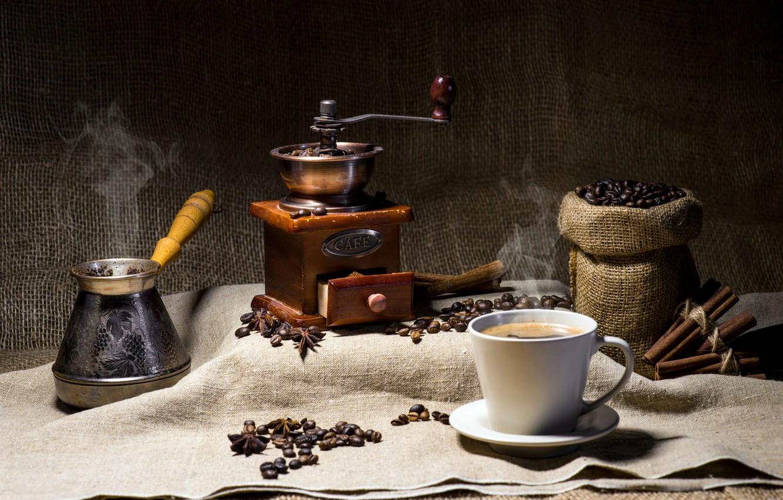Photo wallpaper coffee, burlap, coffee beans, coffee grinder
