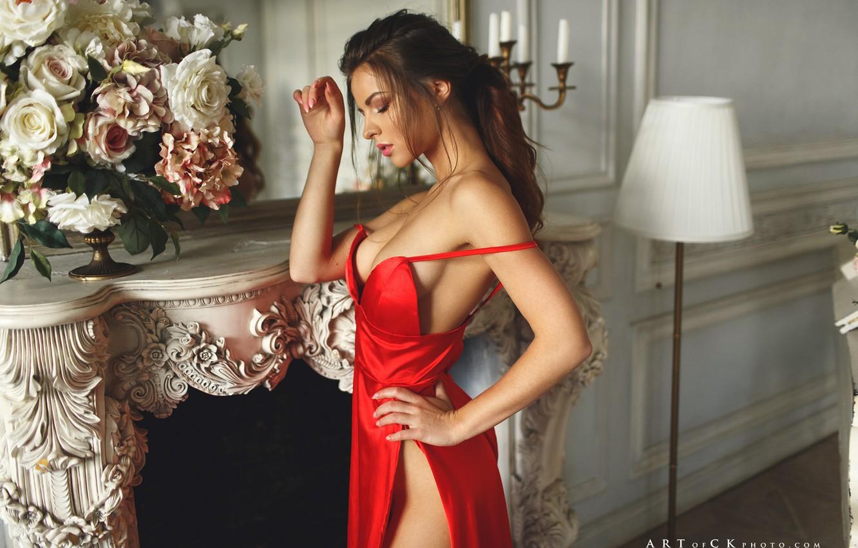 Photo wallpaper girl, flowers, pose, hands, the cut, fireplace, red dress, floor lamp, Stepan Kvardakov, Yulia Zubova