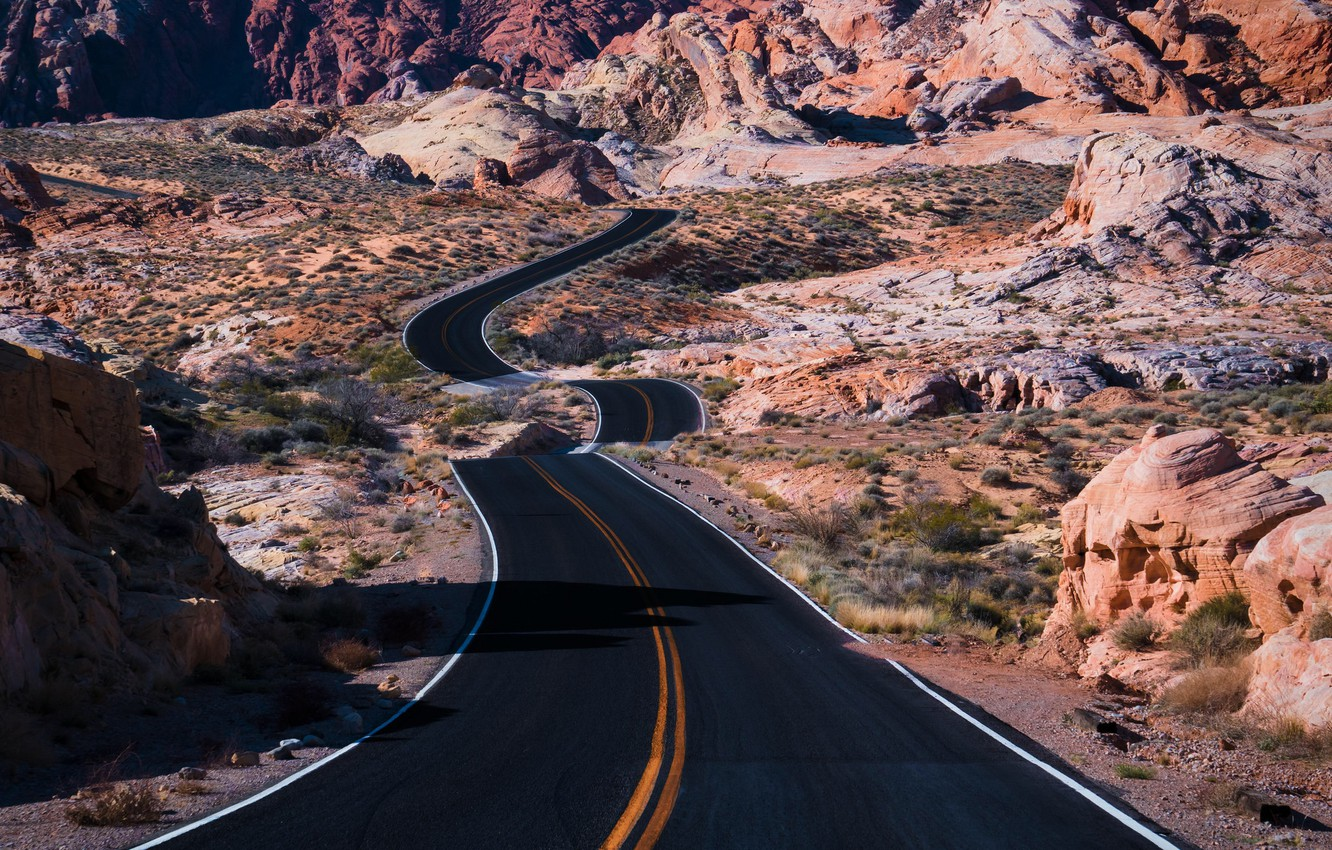 Photo wallpaper road, nature, valley