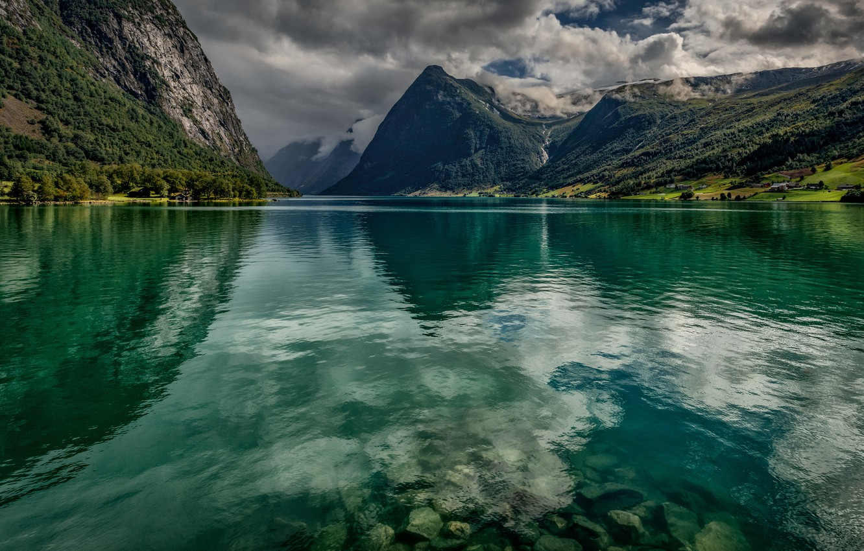Photo wallpaper clouds, landscape, mountains, nature, lake