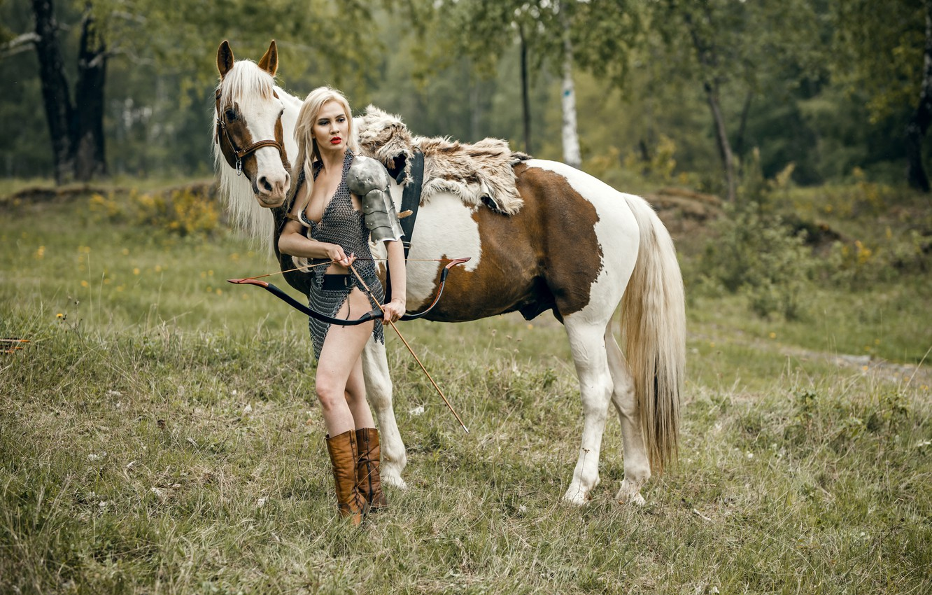 Photo wallpaper girl, horse, warrior, bow