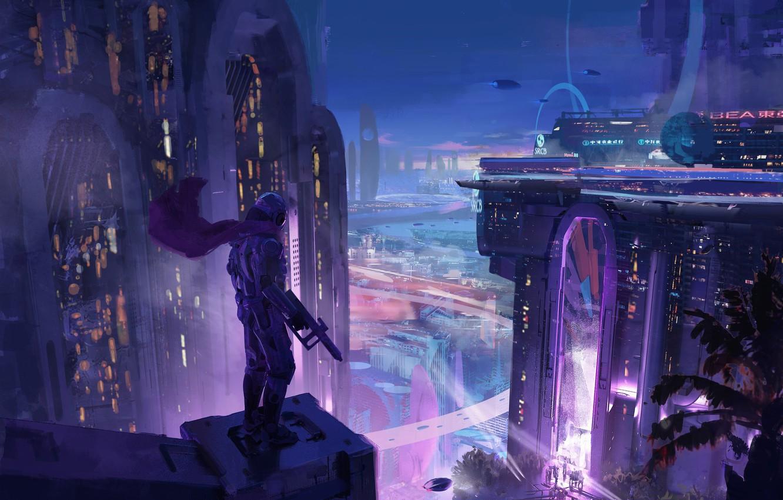 Photo wallpaper Night, The city, Neon, City, Art, Assassin, Night, Fiction, Illustration, Concept Art, Cyberpunk, Environments, Anthill …