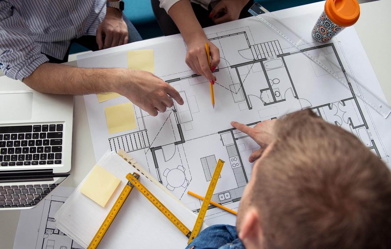 Photo wallpaper architecture, engineering, plans, teamwork