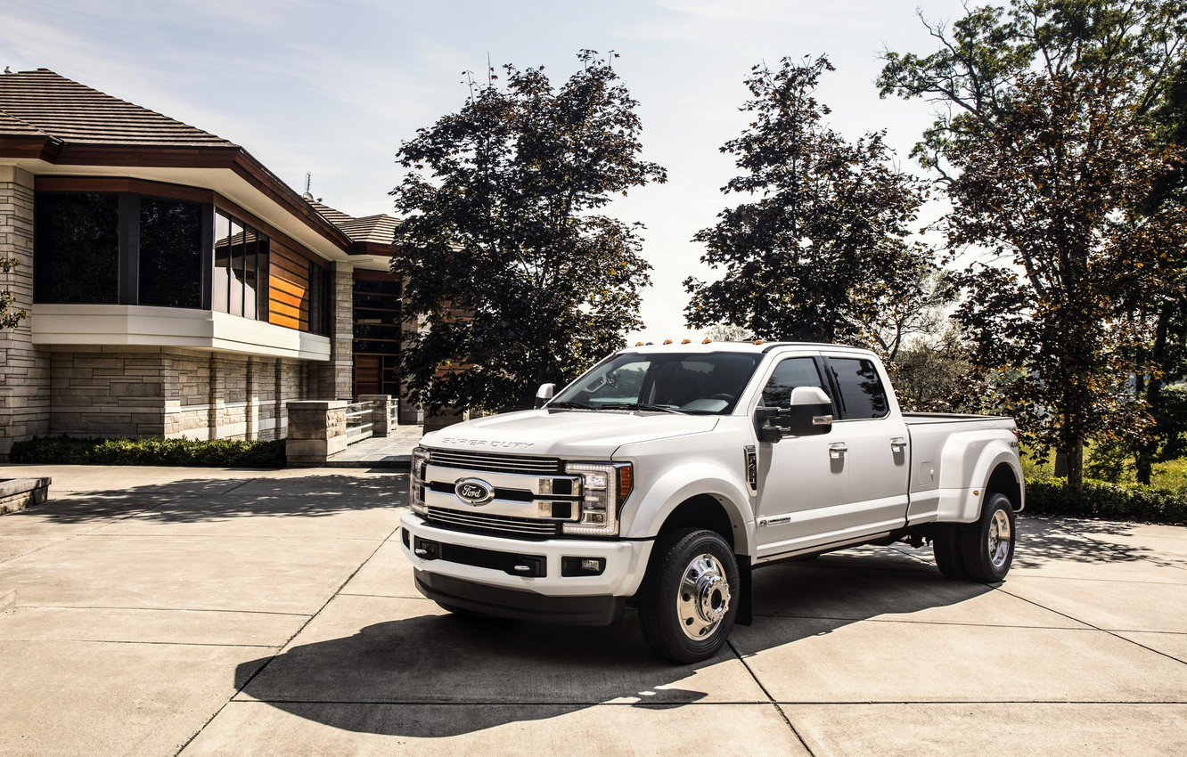 Photo wallpaper trees, house, Ford, pickup, 4x4, 2018, 440 HP, Super Duty, F-450, Limited, V8, 6.7 L., …