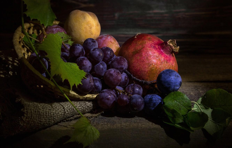 Photo wallpaper grapes, fruit, still life, peach, burlap, garnet