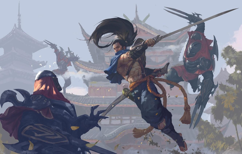 Photo wallpaper sword, fantasy, game, weapon, fight, battle, League of Legends, samurai, digital art, artwork, warriors, fantasy …