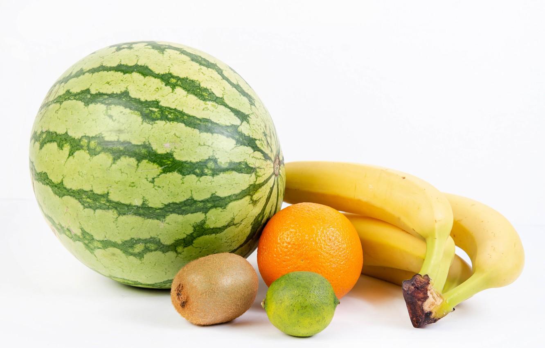 Photo wallpaper watermelon, kiwi, bananas, white background, lime