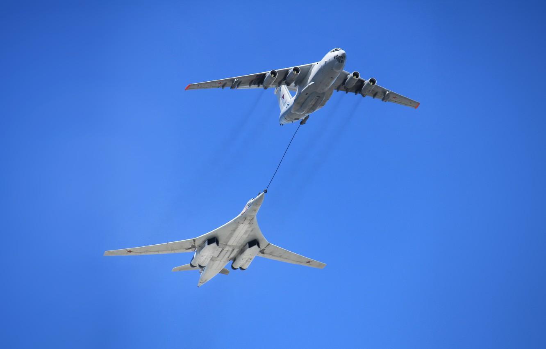 Photo wallpaper The sky, Swan, The plane, Flight, USSR, Russia, Aviation, BBC, Bomber, Tupolev, Tu 160, The …