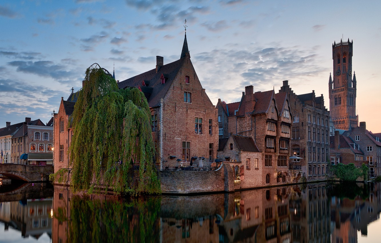 Photo wallpaper the city, reflection, tree, building, home, the evening, channel, Belgium, twilight, Bruges